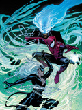 Ultimate Spider-Man No.154 Cover: Black Cat, Spider-Man, and Mysterio Fighting and Jumping Plastic Sign by Sara Pichelli