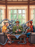 Marvel Adventures Spider-Man No.33 Cover: Spider-Man, May Parker and Doctor Octopus Swinging Plastic Sign by Patrick Scherberger