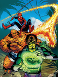 Spider-Man Family No.7 Cover: Spider-Man, Thing, Looter and Human Torch Plastic Sign by Karl Kesel