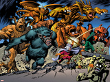 Marvel: Monsters On The Prowl No.1 Group: Fin Fang Foom, Mole Man, Moloids and Goom Plastic Sign by Duncan Fegredo