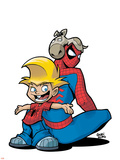 Gus Beezer & Spiderman No.1 Cover: Gus Beezer and Spider-Man Plastic Sign by  Gurihiru