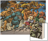 Marvel: Monsters On The Prowl No.1 Group: Fin Fang Foom, Mole Man, Moloids and Goom Wood Print by Duncan Fegredo