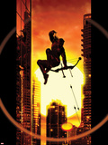 Ultimate Comics Hawkeye No.4 Cover: Hawkeye Jumping and Shooting with his Bow and Arrow Plastic Sign by Kaare Andrews