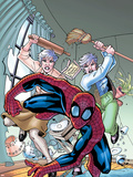 Marvel Adventures Spider-Man No.13 Cover: Spider-Man, and May Parker Plastic Sign by Patrick Scherberger