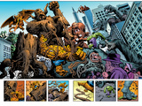 Marvel: Monsters On The Prowl No.1 Group: Hulk, Thing, Groot, Fin Fang Foom and Grogg Prints by Duncan Fegredo