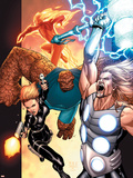 Ultimate Secret No.4 Cover: Thor, Thing, Human Torch and Black Widow Plastic Sign by Steve MCNiven