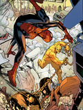 Marvel Adventures Spider-Man No.24: Spider-Man and Absorbing Man Fighting Plastic Sign by Rob Disalvo