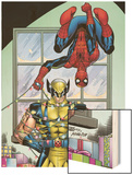 Marvel Holiday Special 2007 No.1 Cover: Spider-Man and Wolverine Wood Print by Ron Lim