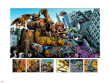 Marvel: Monsters On The Prowl No.1 Group: Hulk, Thing, Groot, Fin Fang Foom and Grogg Plastic Sign by Duncan Fegredo