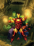 Marvel Adventures Super Heroes No.4 Cover: Iron Man, Hulk and Spider-Man Plastic Sign by Roger Cruz