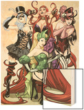 Women of Marvel No.1 Cover: Enchantress, Black Cat, Medusa, and Satana Posing Wood Print by Sara Pichelli