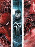The Punisher No.10 Cover: Spider-Man, Punsiher, and Daredevil Plastic Sign by Marco Checchetto