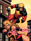 Captain Marvel No.2 Cover: Captain Marvel and Ms. Marvel Wall Decal by Ed McGuinness