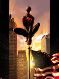 Ultimate Comics Spider-Man No.7 Cover: Spider-Man Sitting on Top of a Flag Pole in the City Plastic Sign by Kaare Andrews