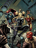Fear Itself: The Fearless No.6 Cover: Valkyrie, Iron Man, Captain America, Sin, and Crossbones Plastic Sign by Arthur Adams