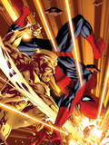 The Amazing Spider-Man No.582 Cover: Spider-Man and Molten Man Plastic Sign by Mike McKone