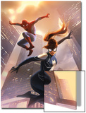 Spider-Girl No.8 Cover: Spider-Girl and Spider-Man Jumping Poster by Jelena Djurdjevic