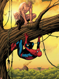 Marvel Adventures Spider-Man No.13 Cover: Ka-Zar and Spider-Man Crouching Out on a Limb Plastic Sign by Barry Kitson