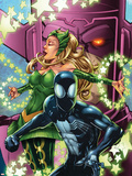 Spider-Man & The Secret Wars No.3 Cover: Spider-Man, Enchantress and Galactus Plastic Sign by Patrick Scherberger