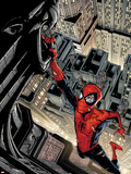 Marvel Adventures Spider-Man No.5 Cover: Spider-Man Swinging from a Tall Building Plastic Sign by Patrick Scherberger