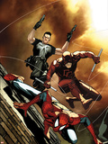 Avenging Spider-Man No.6 Cover: Spider-Man, Daredevil, and Punisher Jumping Plastic Sign by Steve MCNiven