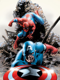 Spectacular Spider-Man No.15 Cover: Captain America and Spider-Man Plastic Sign by Steve Epting