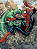 Marvel Adventures Spider-Man No.10 Cover: Spider-Man and Scorpion Fighting Plastic Sign by Patrick Scherberger