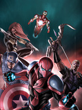 The Amazing Spider-Man No.683 Cover: Spider-Man, Captain America, Hawkeye, Black Widow, & Iron Man Plastic Sign by Stefano Caselli