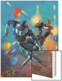 Punisher Vs. Bullseye No.4 Cover: Punisher and Bullseye Smashing Wood Print by Mark Texeira