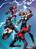 Ultimate Spider-Man No.157 Cover: Spider-Man, Captain America, Thor, and Iron Man Plastic Sign by Mark Bagley