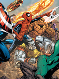 Spider-Man & The Secret Wars No.3 Group: Spider-Man, Colossus, Thing, Iron Man and Human Torch Art by Patrick Scherberger