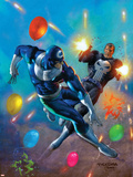 Punisher Vs. Bullseye No.4 Cover: Punisher and Bullseye Smashing Plastic Sign by Mark Texeira