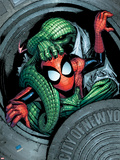 Marvel Adventures Spider-Man No.11 Cover: Spider-Man and Lizard Fighting Plastic Sign by Patrick Scherberger