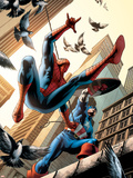 Spectacular Spider-Man No.16 Cover: Spider-Man and Captain America Fighting Plastic Sign by Michael Ryan