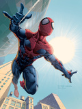 Spider-Man: House Of M No.1 Cover: Spider-Man Swinging Plastskylt av Salvador Larroca
