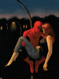 The Amazing Spider-Man No.640 Cover: Spider-Man Holding Mary Jane Watson Plastic Sign by Paolo Rivera