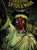 The Amazing Spider-Man No.666 Cover: Spider-Man Painted on the Statue of Liberty Plastic Sign by Mike Del Mundo