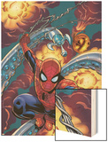 Friendly Neighbourhood Spider-Man No.1 Cover: Spider-Man Charging Wood Print by Mike Wieringo
