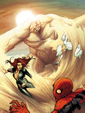 The Amazing Spider-Man No.684 Cover: Spider-Man, Black Widow, and Silver Sable Caught by Sandman Wall Decal by Stefano Caselli