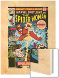 Marvel Spotlight: Spider-Woman No.32 Cover: Spider Woman and Nick Fury Fighting Wood Print by Sal Buscema