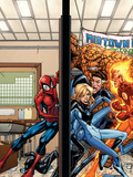 Marvel Adventures Spider-Man No.39 Cover: Spider-Man, Fatastic Four Cartel de plástico por Patrick Scherberger