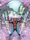 Marvel Adventures Spider-Man No.14 Cover: Mysterio Trapping Spider-Man Plastic Sign by Patrick Scherberger