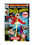 Marvel Spotlight: Spider-Woman No.32 Cover: Spider Woman and Nick Fury Fighting Plastic Sign by Sal Buscema