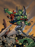Spider-Girl No.86 Cover: Spider-Girl, Apox, J2, Hulk and Nova Fighting Plastic Sign by Ron Frenz