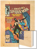 Amazing Spider-Man No.252 Cover: Spider-Man Swinging Wood Print by Ron Frenz