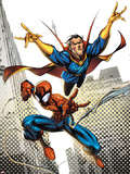 Marvel Adventures Spider-Man No.16 Cover: Spider-Man and Dr.Strange in the City Sky Plastic Sign by Ale Garza
