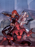 The Amazing Spider-Man No.685 Cover: Spider-Man, Black Widow, and Silver Sable Plastic Sign by Stefano Caselli