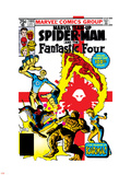Marvel Team-Up No.100 Cover: Spider-Man, Mr. Fantastic, Invisible Woman, Human Torch and Thing Plastic Sign by Frank Miller