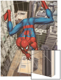 Spider-Man Above the City, Crawling on Web Wood Print