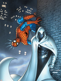Marvel Team Up No.7 Cover: Moon Knight and Spider-Man Plastic Sign by Scott Kolins